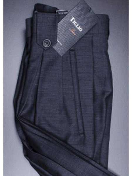 Buy SM1231 Tiglio Blue Grey Men's Wide Leg Pleated Pant Flap Pockets