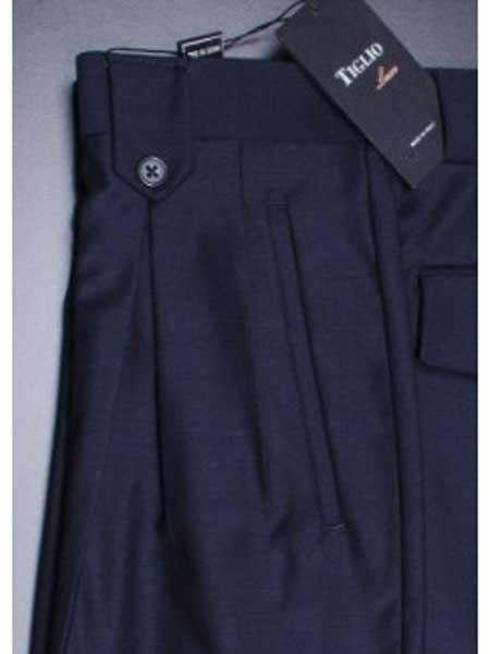 Navy Wide Leg Pleated