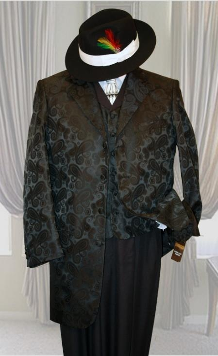 SKU#YS4211 Tivoli Black 3PC Fashion Zoot Suit $299