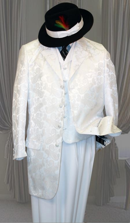 SKU#RH9087 Tivoli White 3PC Fashion Zoot Suit $299