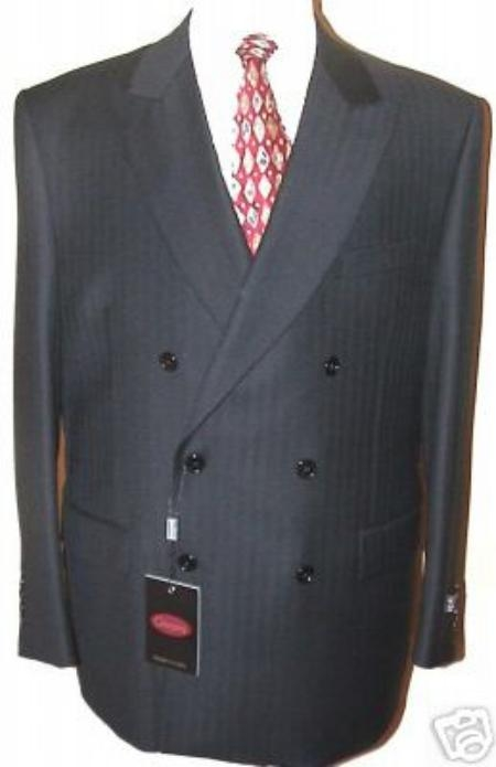 SKU# LK32 Ton on Ton Shadow Tonal Stripe Double Breasted Suit Comes in 8 Colors $299