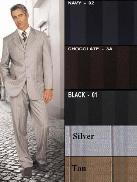 SKU# MAM731 $1295 Nicest Ton On Ton Pinstripe Vested 3 Buttons Mens Suits $169