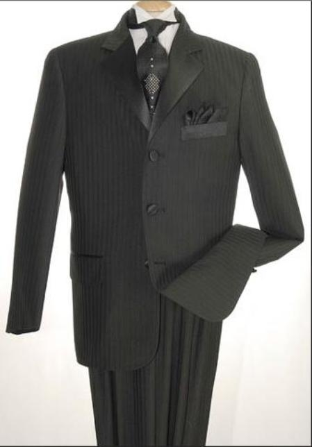 SKU#WE5 Tone-on-Tone Stripe Mens Three Button Satin Notch Lapel Tuxedo Black Shadow Stripe