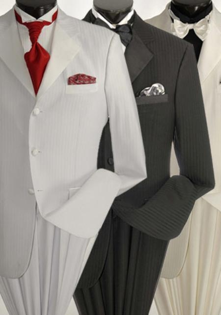 SKU#WE5 Tone-on-Tone Stripe Mens Three Button Satin Notch Lapel Tuxedo Black, White, Off-White $199
