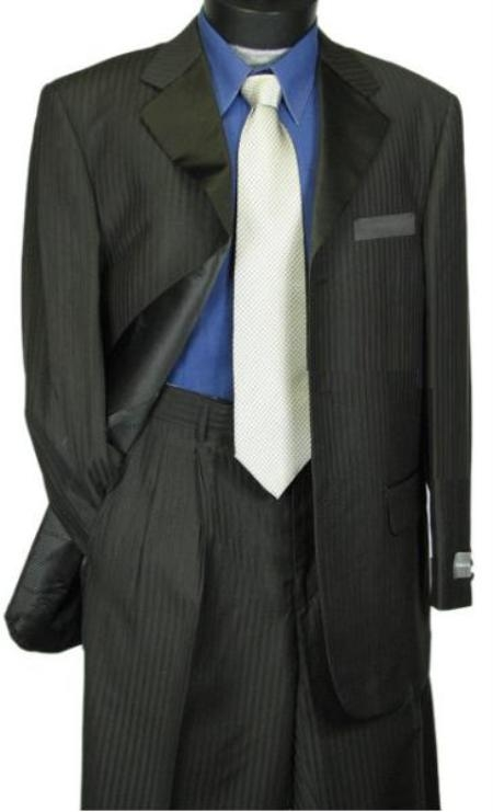 SKU#WE5 Tone-on-Tone Stripe Mens Three Button Satin Notch Lapel Tuxedo Black Shadow Stripe $499