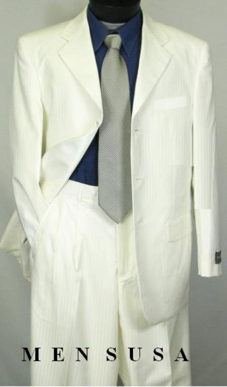 SKU#WE5 Tone-on-Tone Stripe Mens Three Button Satin Notch Lapel Tuxedo Ivory~Cream~Off-White $179