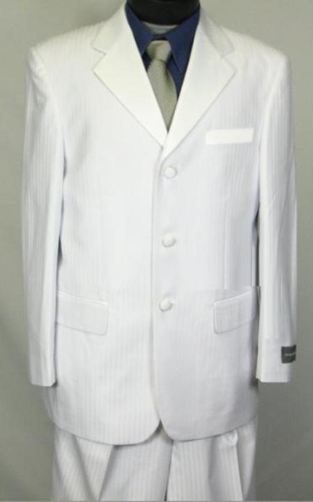 SKU#WE5 Tone-on-Tone Stripe Mens Three Button Satin Notch Lapel Tuxedo Pure White $179