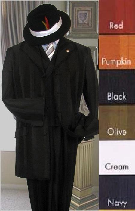 SKU#MUM17056 tone on tone Stripe 3 Btn Jacket Double Breasted Vest in Red/Pumpkin/Black/Olive/Cream