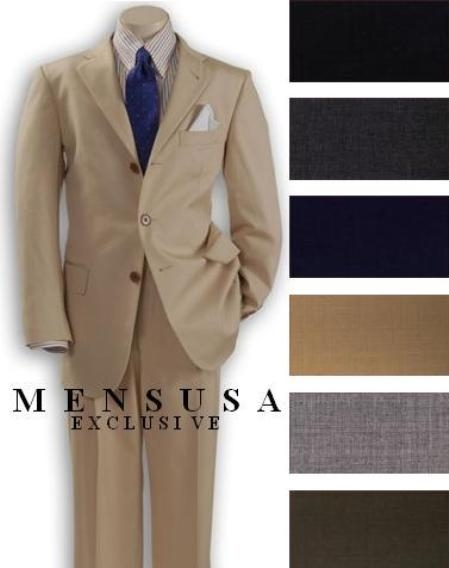 SKU# MANA_303_344 Top Quality Boys Solid Beige/Tan ~ Beige 3 Buttons Worsted Light Weight super fine wool feel poly~rayon Suit