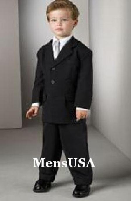 SKU# RJN871 Top Quality Boys Solid Black 3 Buttons Worsted Light Weight super fine wool feel poly~rayon Suit $99