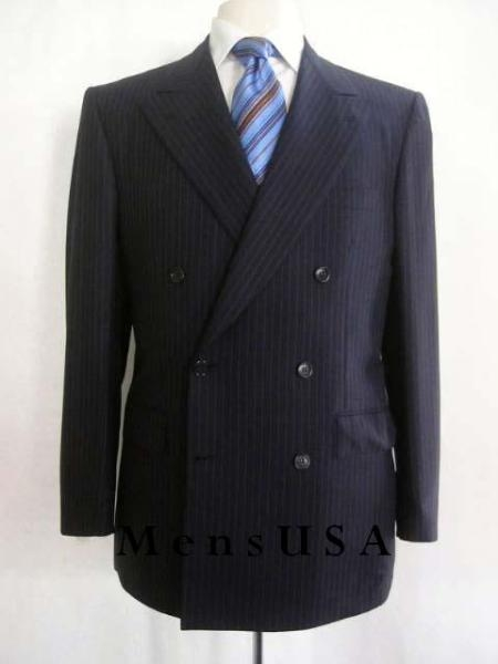 SKU# TG72 Top Quality Navy Blue & Conservative Classic  Pinstripe Double Breasted Suit $295