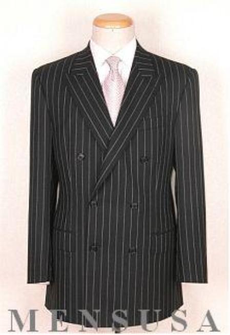 SKU# 332 Top Quality Super Soft Black Pinstripe Double Breasted Peack Laple Pleated Pants Vented $299