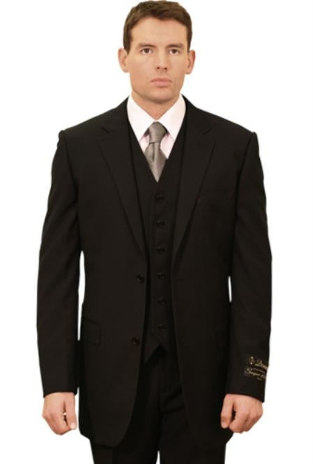 SKU#BV3488 Trueran-Viscose Men's Classic affordable suit online sale - Black