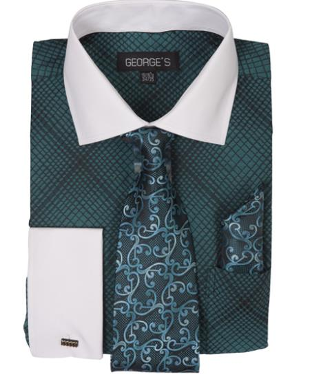 Buy SS-8425 Mens Turquoise Long Sleeve White Collar Two Toned Contrast Check Pattern Fashion Dress Shirt Tie Set