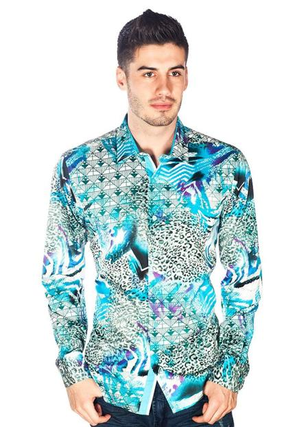 Sku Sm5029 Barabas Men S Turquoise Multi Layered Design S
