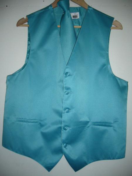 TORQUISE GROOMSMEN DRESS TUXEDO WEDDING Vest ~ Waistcoat ~ Waist coat & TIE SET Buy 10 of same color Tie For $25 Each