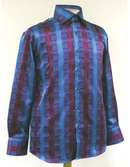 Buy GD303 Men's High Collar Fashion ~ Shiny ~ Silky Fabric Turquoise Cube Stripe Style Shirt