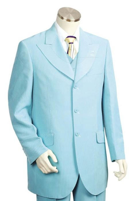 SKU#HJ2543 Men's Long Zoot Suit in turquoise ~ Light Blue Stage Party