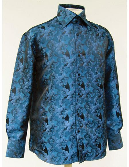 Men's High Collar Fashion ~ Shiny ~ Silky Fabric Turquoise Shiny Floral Design Pattern Club Clubbing Clubwear Shirts Night Club Outfit guys Wear For Men Clothing Fashion