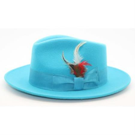 Buy PNL65 Men's Turquoise Wool Fedora Hat