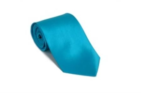 SKU#PG332 Turquoise 100% Silk Solid Necktie With Handkerchief $29