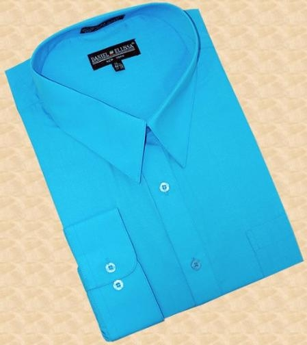 SKU#JR380 Turquoise Cotton Blend Dress Shirt With Convertible Cuffs $39