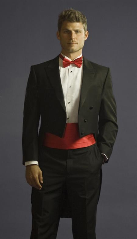 SKU#BRE6781 Tuxedo with Tailcoat Center Vented and Flat Front Pants Black With Free Tuxedo Shirt & Bowtie