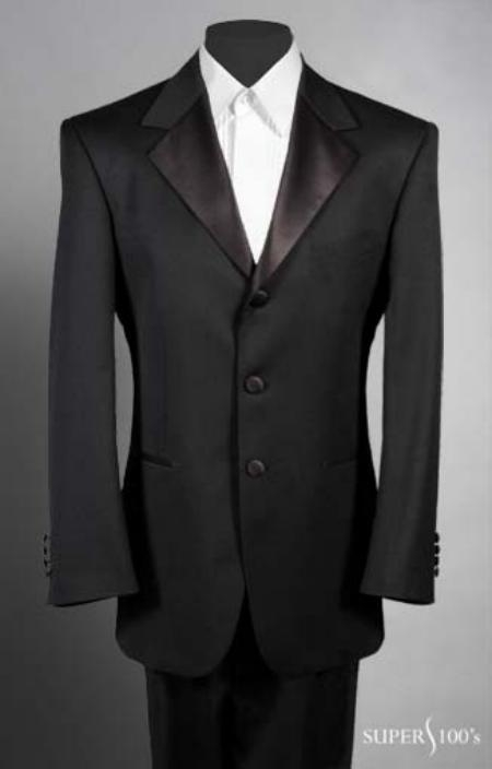 SKU# OFA599 Tuxedo 2-piece, 3 Button Single Breasted Super 100s Wool Feel Light Weight Soft Poly~Rayon $124