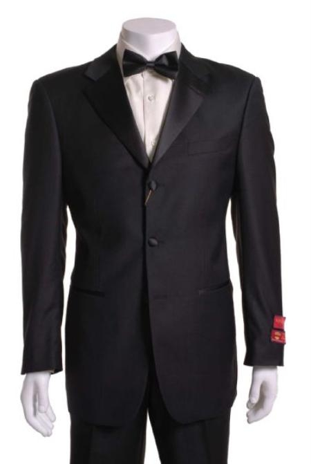 SKU#UH411 Tuxedo Black 3 Button Vented Wool without pleat flat front Pants $209
