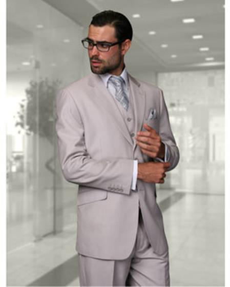 Statement Confidence Mens Ash Grey 2 Button Modern Fit Wool Fine Brands Best Italian Style Cut Suits