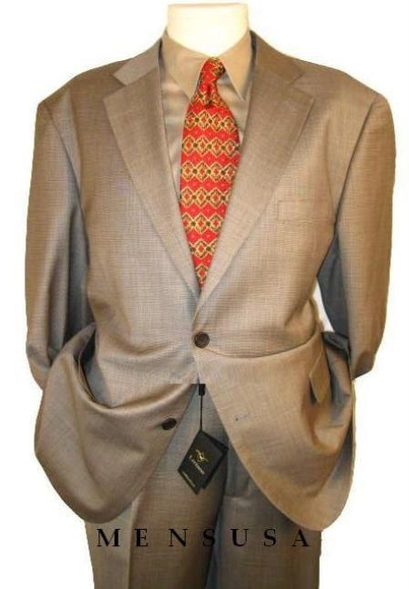 SKU#HW0382 2 btn Taupe-Beige Checker Mini Pindots Teakweave Nailhead Salt & Pepper Birdseye Patterned Suit