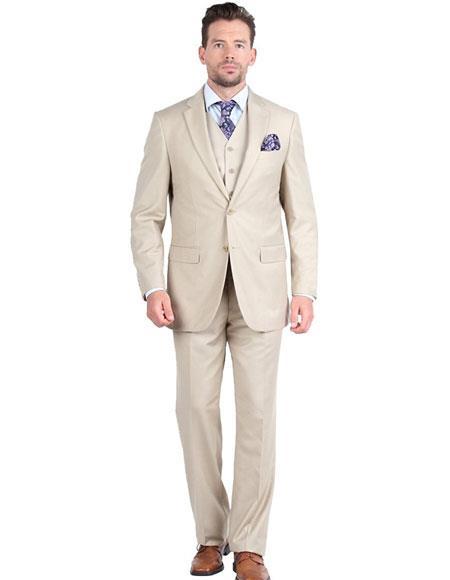 Giorgio Fiorelli Mens Single Breasted 2 Button 3 Piece Double Vents Beige Suit