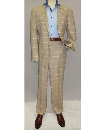 Buy GD1695 Men's Single Breasted 2 Button Modern Fit Beige Plaid Pattern Suit