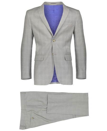 Men's Beige Slim Fit 2 Button Suit Window Pane ~ Plaid Suit ~ Blazer & Pants