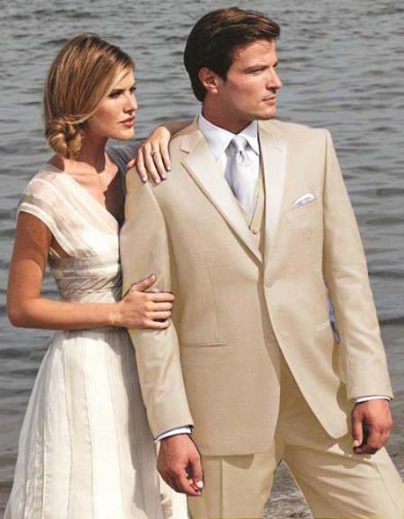 Light Sand Beige Tan Beige Two Button Tuxedo Suit