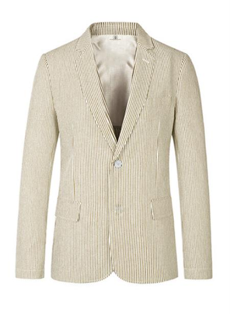 Mens Two Button Medium Notch Lapel seersucker ~ sear sucker Beige Sport Coat Cheap Priced Blazer Jacket For Men Online