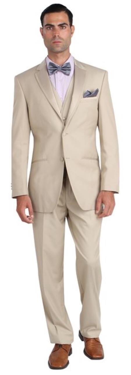 Mens Two Button Khaki ~ Tan ~ Sand Tuxedo Jacket & Pants Beige Sateen lapel Tuxedo Lapel & Buttons Wool Fabric