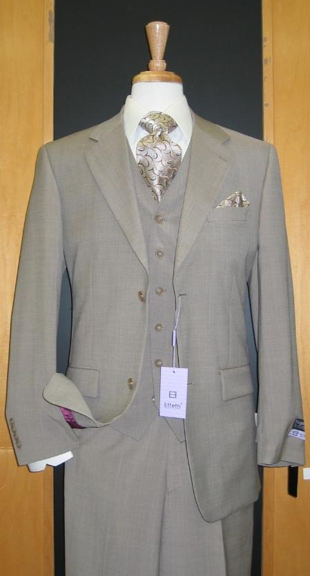 SKU#ER489 Two Button Three Piece Beige Wool and Cashmere Flat Front three piece suit