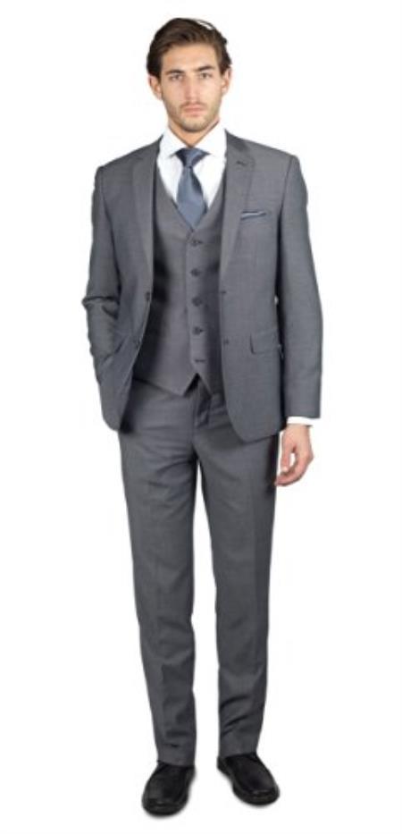 Mens 2 Button Birdseye Grey Three Piece TR Blend Suit