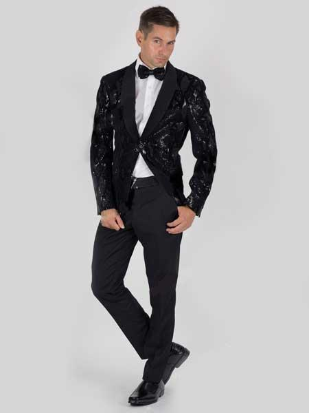Black Men's Slim Fit 2 Button Sequin Snake Skin Jacket With Matching Bowtie