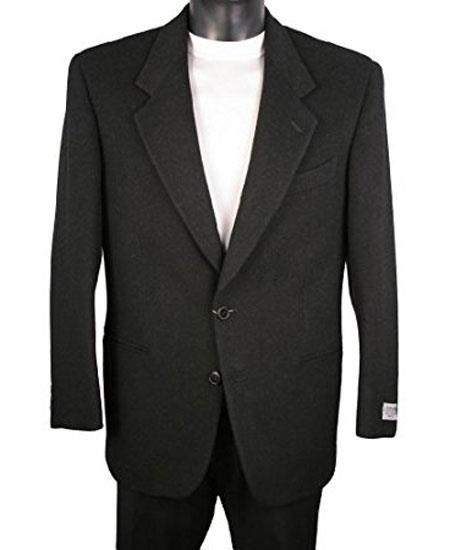 Mens 2 Button Notch Lapel Single Breasted Black Blazer