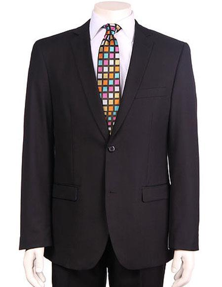 Mens Vitali Single Breasted Authentic 2 Button Black Slim Fit Suit
