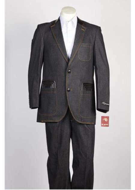 Mens Denim Jean Black 2 Button  Single Breasted Suit
