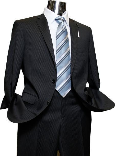 Mix and Match Suits Men's Quality 2 Buttons Portly Suits +  Black Stripe Pinstripe Executive Fit Suit - Mens Portly Suit