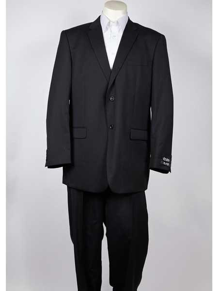 Two Button Mens Classic Fit Black Single Breasted Pinstripe Notch Lapel Suit