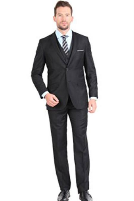 Black Mens Two Button Notch Collar Single Breasted 3 Piece Slim Fit Vested Suit