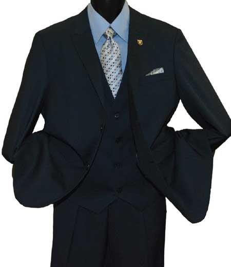 Mens Stacy Adams Brand Peak Lapel 2 Button Black Single Breasted V-Neck Vested Suit