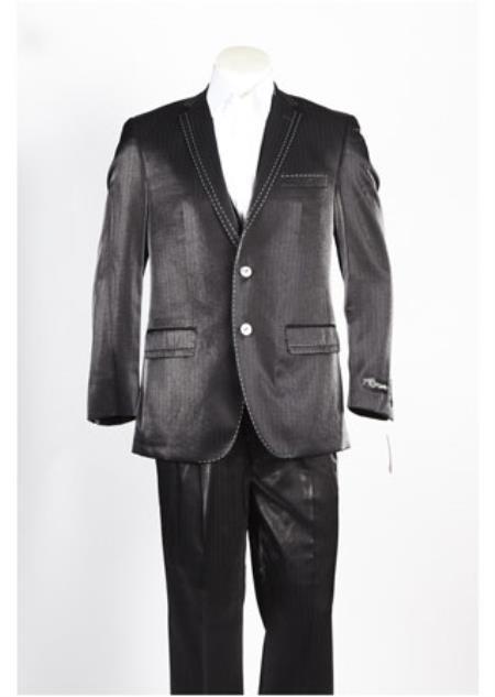Mens 2 Button Two Front Pocket  Black Suit