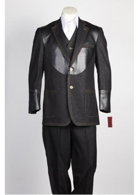 Mens Single Breasted 2 Button Suit Black