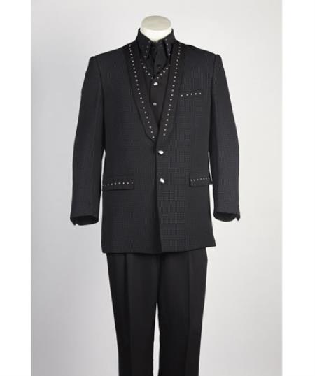 Mens 3 Piece Vested 2 Button Shawl Lapel Tuxedo ~ Suit with studded trim Black